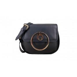 δερμάτινη γυναικεία τσάντα στρογγυλή